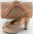 Italian shoe with matching bag heel height 10cm ladies matching shoe and bag Italy cheap price high quality shoe and bag set