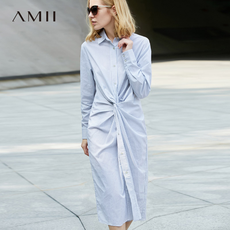 Amii Women Minimalist Dress 2018 100 Cotton Stripe Knee Length Long Sleeve Female Dresses