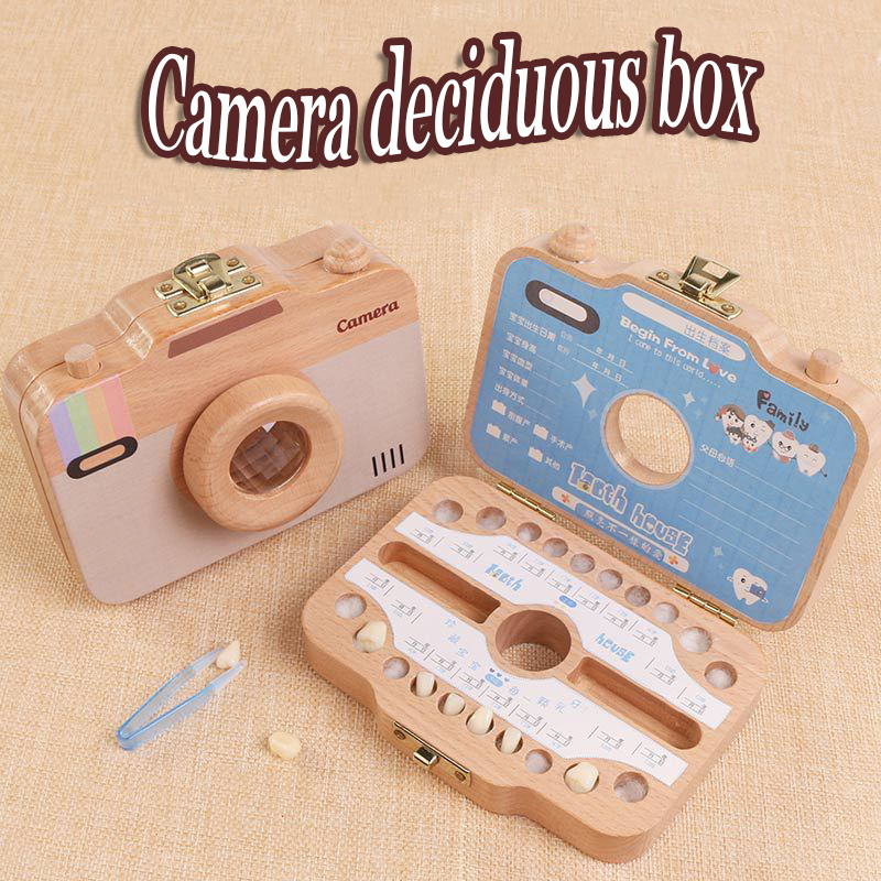 Wooden Children's Camera Deciduous Tooth Preservation Box Storage Box English Japan Russian French Italian Spanish