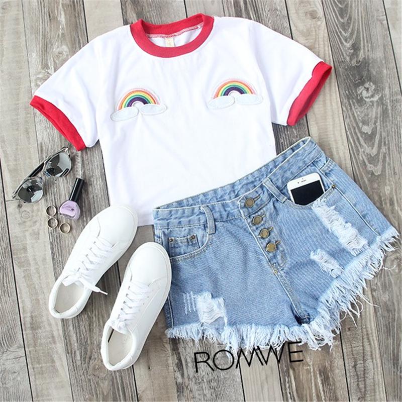 HTB1tf84RVXXXXaOaXXXq6xXFXXXS - Rainbow Patch Embroidered Crop Tees Summer PTC 128
