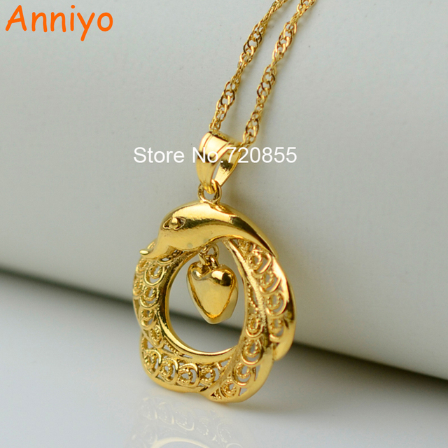 Anniyo charm heart dolphin pendants necklaces for women gold color anniyo charm heart dolphin pendants necklaces for women gold color love jewelry girlfashion brilliant aloadofball Image collections