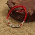 925 Sterling Silver moedas antigas contas sorte Red Rope Shambala pulseira artesanal pulseira amuleto jóias de alta qualidade