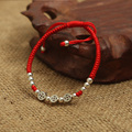 Plata de ley 925 monedas antiguas suerte cuerda roja pulsera del Shambala brazalete hechos a mano amuleto joyería de la alta calidad