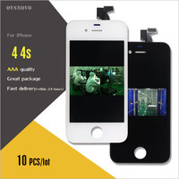 Ovsnovo 10pcs Lot LCD Touch Screen For IPhone 4 4s Display Digitizer Replacement Complete In Black