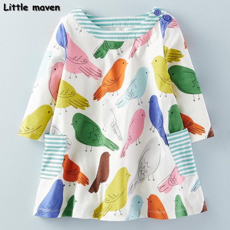 Little maven kids brand clothes 2017 new autumn baby girls clothes Cotton bird printing girl A-line pocket dress D063