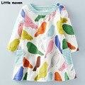 Little maven niños marca de ropa 2017 nueva primavera de los bebés ropa de algodón bird impresión chica a-line vestido con bolsillos d063