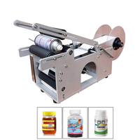 Semi Automatic Round Bottle Labeling Machine Labeler KC 50 Sticky Label Machine