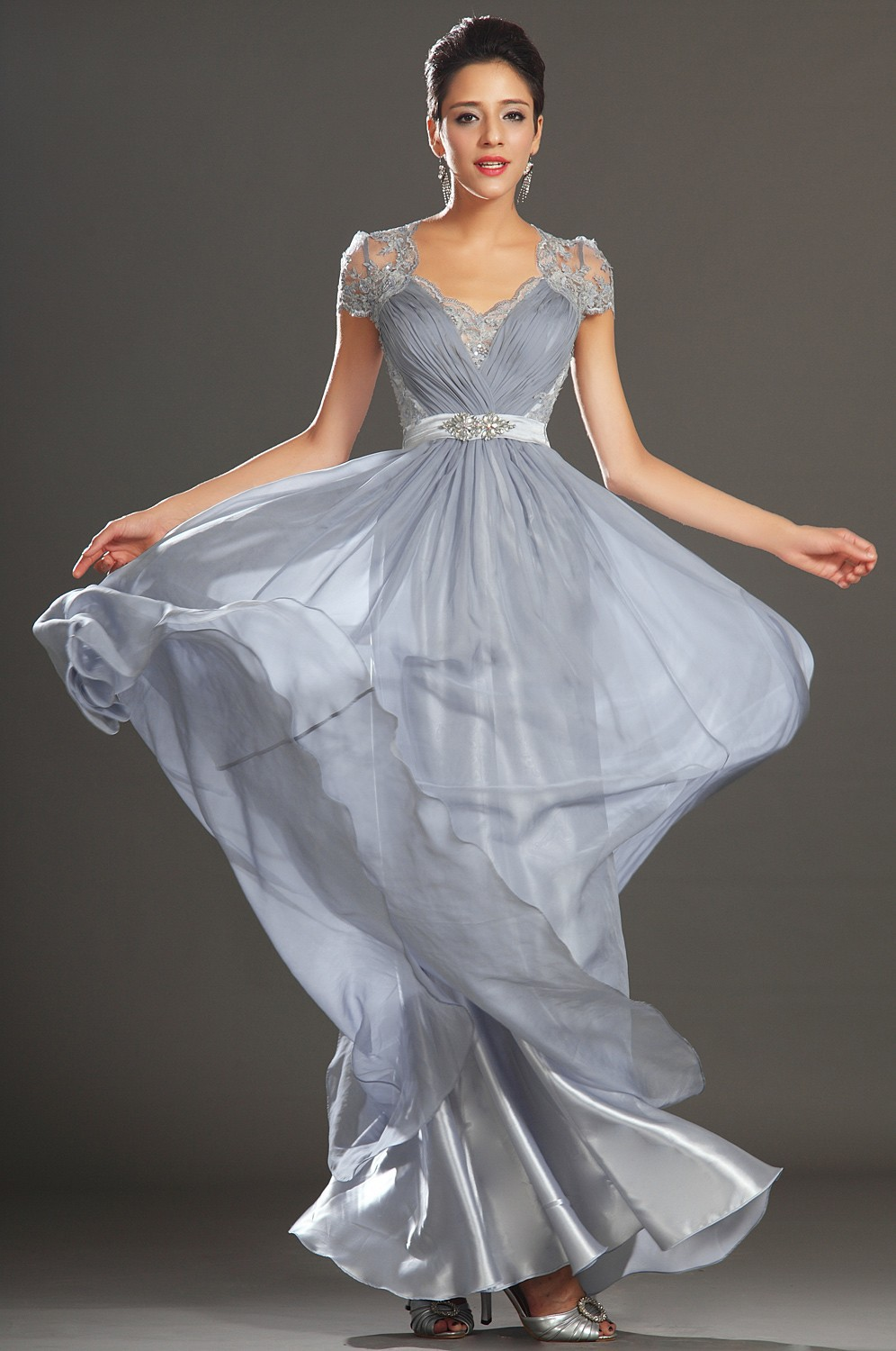 Topsale! Hot New Elegant Silver Grey Ruched Floor Length Evening ...