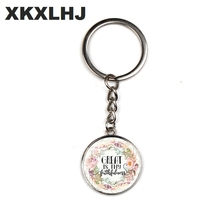 XKXLHJ New Christian Bible Scripture Key Chain Glass Dome Pendant Keychain Quote Jewelry Belief Inspirational Gifts