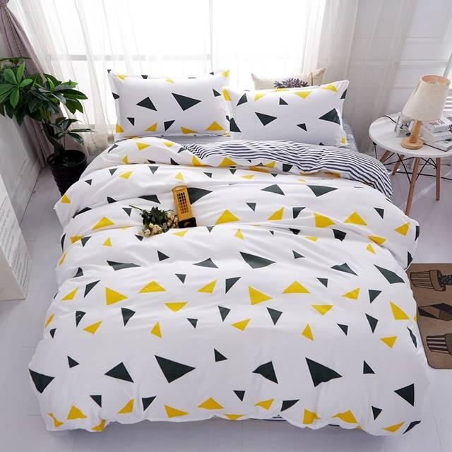 eacba23722 Conjuntos de cama tarja preta e amarela estrela impressão breve duplo twin queen  size
