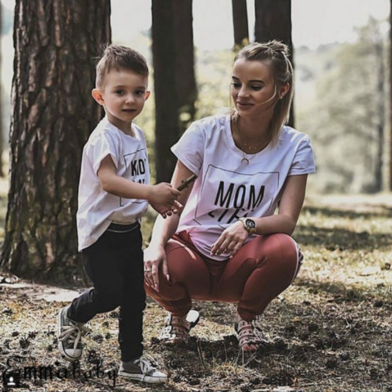 Family Letter Print T Shirts Summer Family Matching Clothes Mother Kids Toddler Baby Boys Girls Outfits