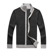 RICHARDROGER  Men Sweater Casual Style Stand Collar Cotton Material Thin Wool Warm Thick Autumn Winter 081
