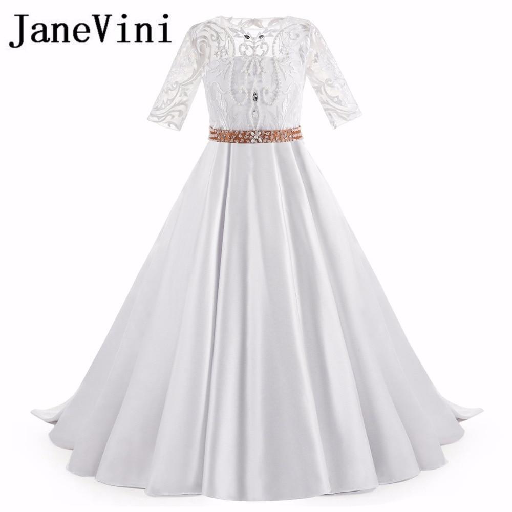 JaneVini 2018 Crystal Beaded   Flower     Girl     Dresses   for Weddings Half Sleeve Satin Kids Prom Evening   Dress   Communie Jurk Meisje