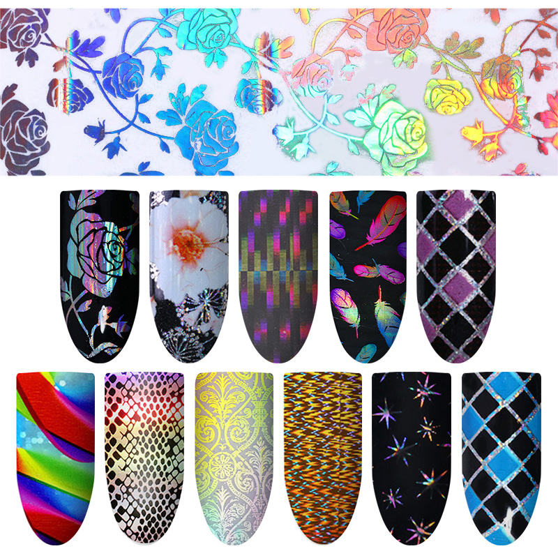 Holographic Starry Nail Foil Colorful Holo Laser 4*100cm Nail Art Transfer Sticker Manicure UV Gel DIY 3D Nail Art Decoration 0 8mm 20000pcs colorful mini nail art beads gardient rhinestones 3d tip decoration for nail uv gel manicure nail art decorations