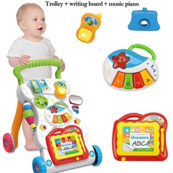 Baby Walker Stroller Toy Baby Early Learning Puzzle Multifunctional Music Walker Strolling Walk Car Baby Gift a generation of fat baby stroller toy car stroller walker walker toys for children