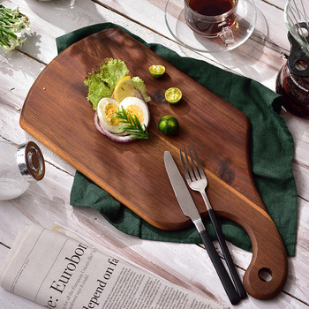 Acacia chopping board, cutting board, solid wood, steak, plate, bread, pizza, pastry, cake, dish, food props.