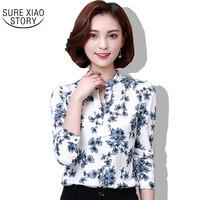Long Sleeved Chiffon Shirt Female Korean Spring 2017 Fashion Coat V All Match Printed Shirt Collar