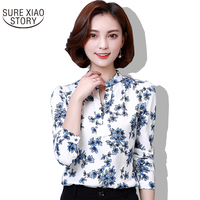 Long Sleeved Chiffon Shirt Female Korean Spring 2017 Fashion Coat V All Match Printed Shirt Collar
