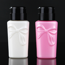 1Pcs 230ml Nail Pressure Bottle Plastic Bow-knot Liquid Alcohol Press Polish Remover Dispenser Cleaner Refillable Manicure Tool