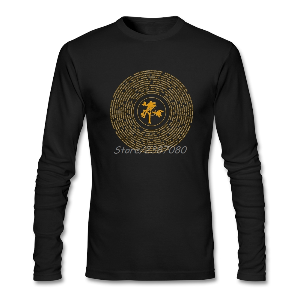 Joshua Tree Vinyl U2 Band Logo T Shirt Custom Long Sleeve Brand Clothing New Plain Cotton  Tee Shirts Homme