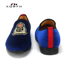 New Fashion Black and Blue Velvet Men Loafers Handmade Men  Dress Shoes Comfortable Men's Smoking Shoes handmade men black velvet shoes printing white squares party and banquet men loafers british style smoking slippers male s flats
