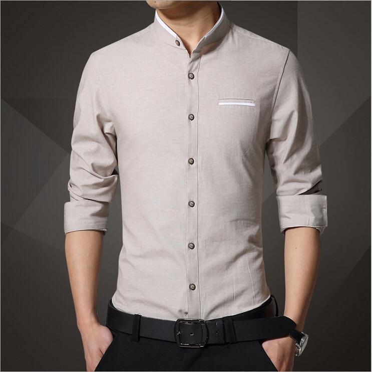 542077db2a5f Men Solid Shirts Linen Shirt Long Sleeve Mandarin Collar Plus Size 4XL Slim  Fit Men Button Front Shirt Loose Dress Shirt 1356-in Casual Shirts from  Men s ...