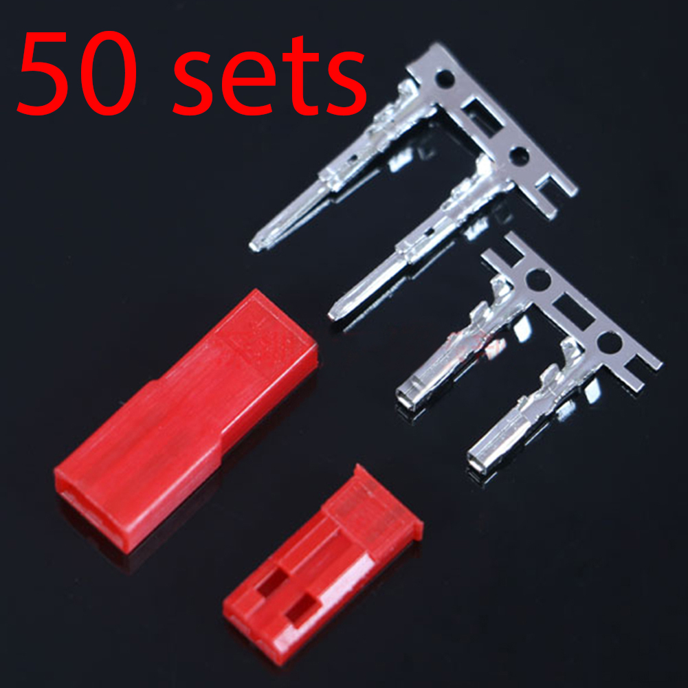 50 Sets/lot JST 2P Connector Plug Jack 2-Pin Female Male Crimps Rc Battery Connector Car Auto Motorcycle Ship Electrical Spare