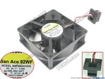 SANYO DENKI 9WF0924H205 DC 24V 0.35A 92x92x32mm Server Cooling Fan