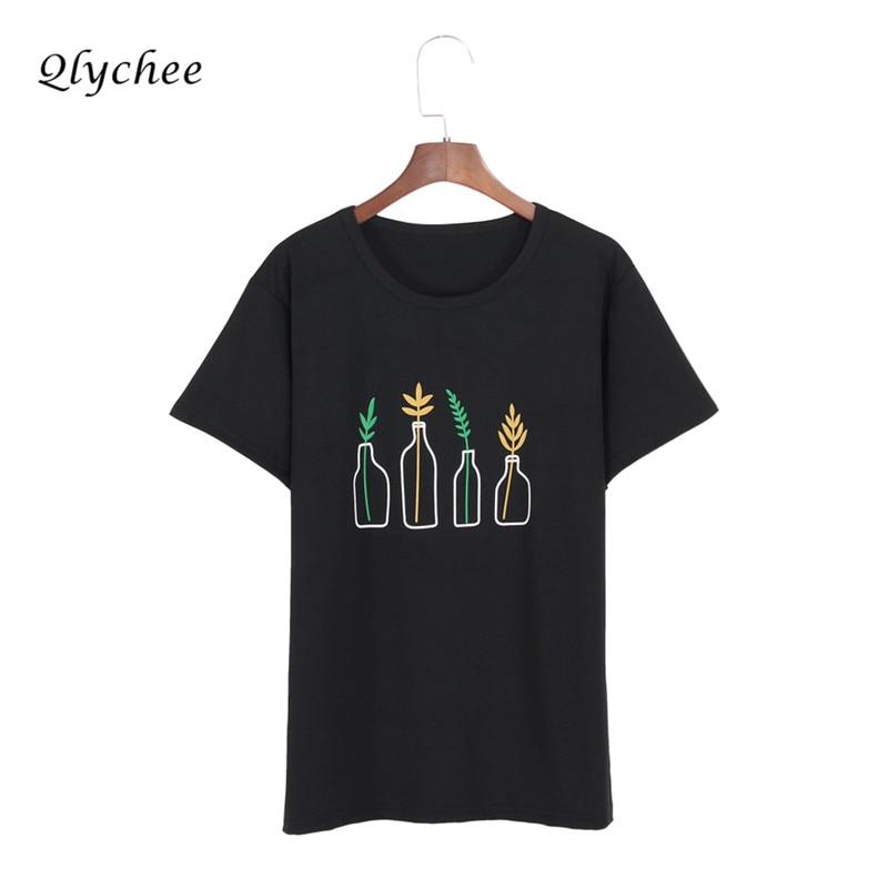 Qlychee mode sommar t-shirt Kvinnor kläder Harajuku T-shirt Flaska - Damkläder