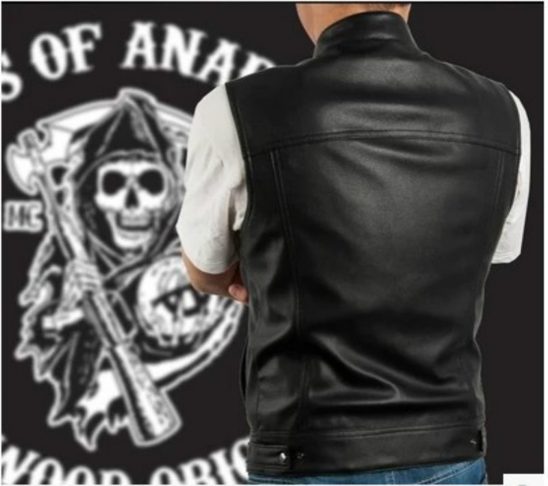 Hot Sale Sons of Anarchy Black Color Harley Motorcycle Vest Leather Sleeveless Jackets Punk Cosplay Costume