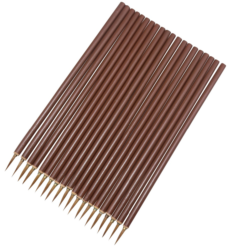 20 Pcs Brown Hook Line Pen Chinese Calligraphy Watercolor Wolf Hair Brush Artist Art Acrylic Acid Student Learning Stationery