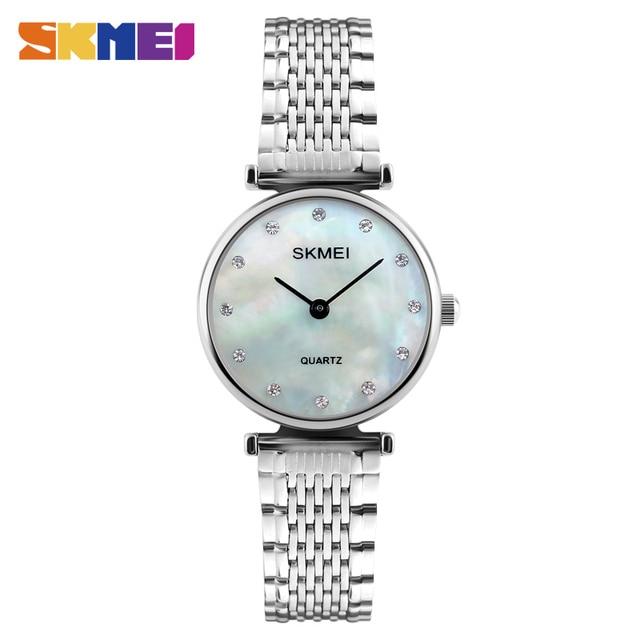 SKMEI New Fashion Women Quartz Watches Casual Dress Girls Wristwatch Rhinestones