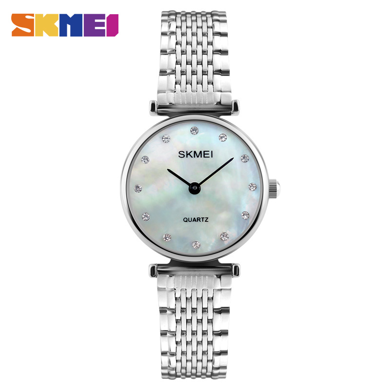 цена на SKMEI New Fashion Women Quartz Watches Casual Dress Girls Wristwatches Rhinestones Waterproof Rose Gold Silver Ladies Watch 1223