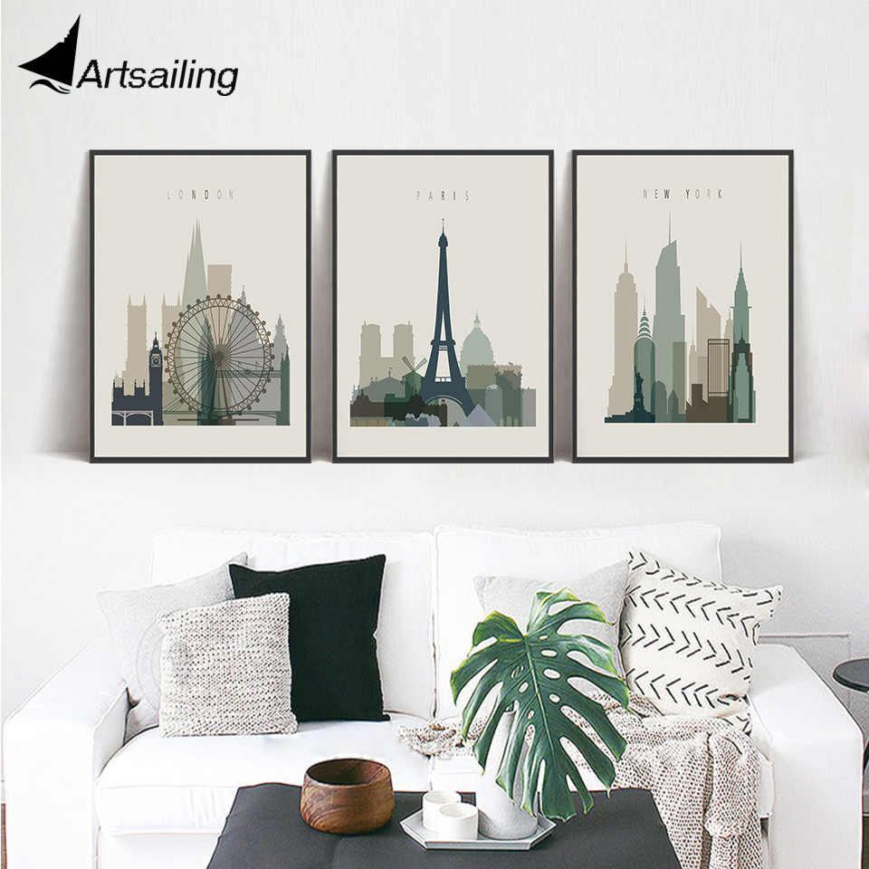 Imágenes de la pared del cartel de la impresión del arte de la ciudad arquitectónica nórdica moderna para la decoración del hogar pintura sin marco