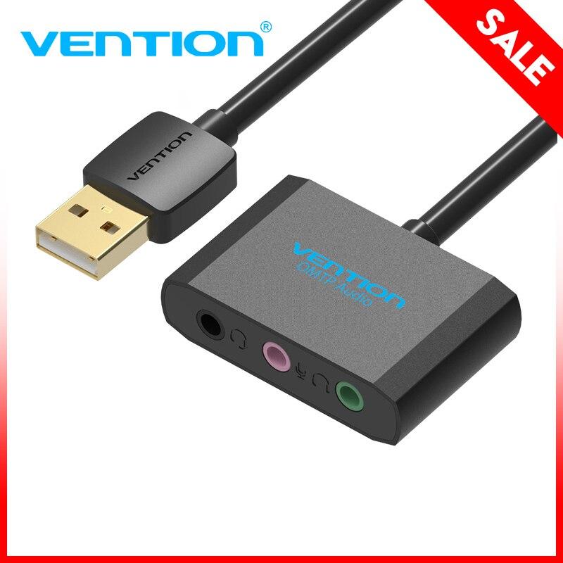 Venção USB placa de som Externa USB Para 3.5mm Adaptador de Microfone do Fone De Ouvido fone de ouvido Jack Femal 3 Buraco Placa De Áudio Para speaker Portátil PS4 PC