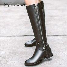 Stylesowner черные туфли высокого качества одноцветное Цвет толстая подошва на низком каблуке женские ботинки martin круглый носок с плюшевые мотоботы