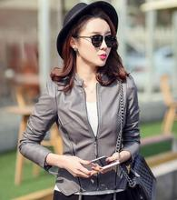 Manufacturers promotion 2017 women fashion short leather jackets Quality is very good leather female jacket women leather coat