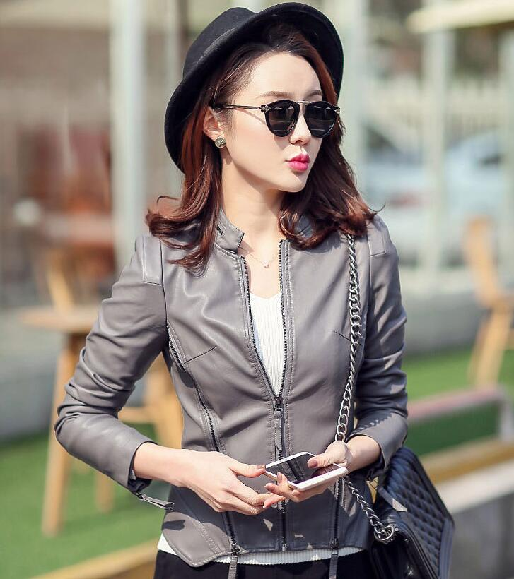 Promotion des fabricants 2017 femmes mode court en cuir vestes qualité est très bon en cuir femme veste femmes en cuir manteau