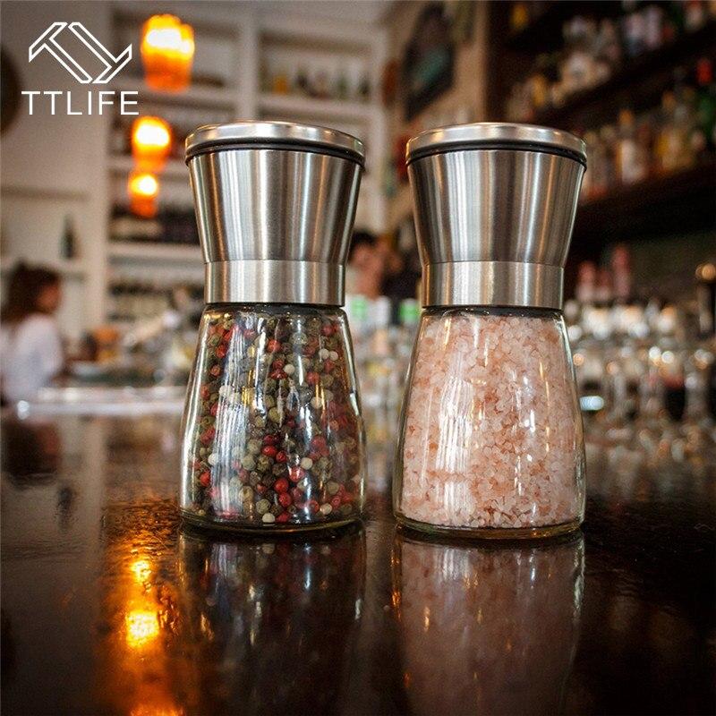 TTLIFE 2pcs Stainless Steel Pepper Mill Salt and Pepper Grinder Set Slim Brushed Salt Mill Adjustable