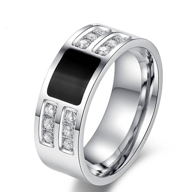 Fashion Men's gifts wedding rings for men ring high quality platinum plated Titanium steel 12pcs zircon stone fine jewelry LR41
