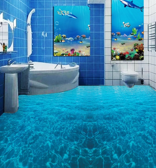 [Self-Adhesive] 3D Dark Blue Ocean 2 Non-slip Waterproof Photo Self-Adhesive Floor Mural Sticker WallPaper Murals Print Decal