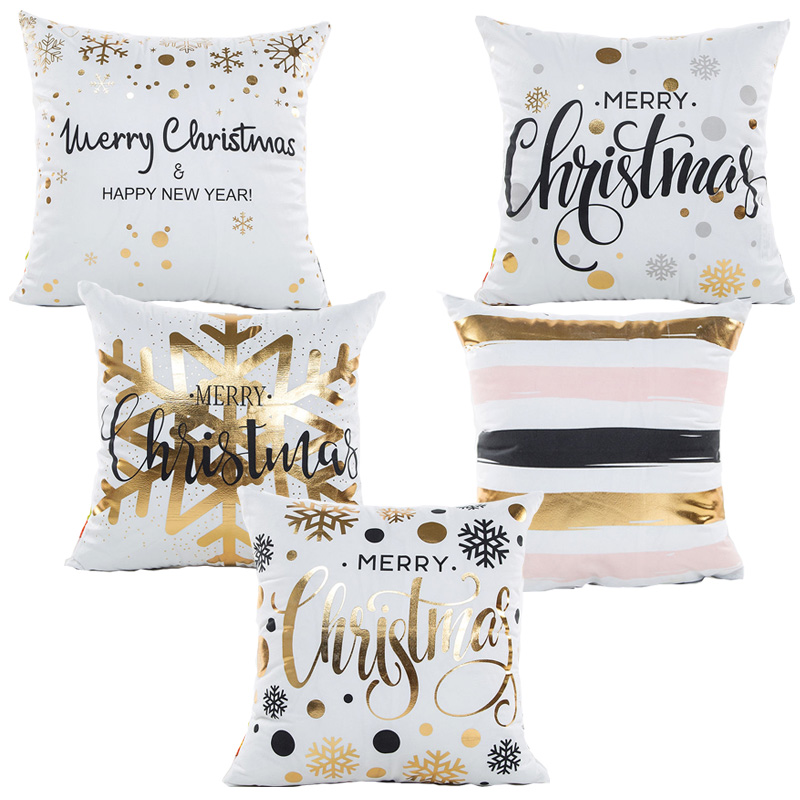 Hot Sale Christmas Pillow Covers Bronzing Throw Pillows Cushion Cool White And Gold Decorative Pillows