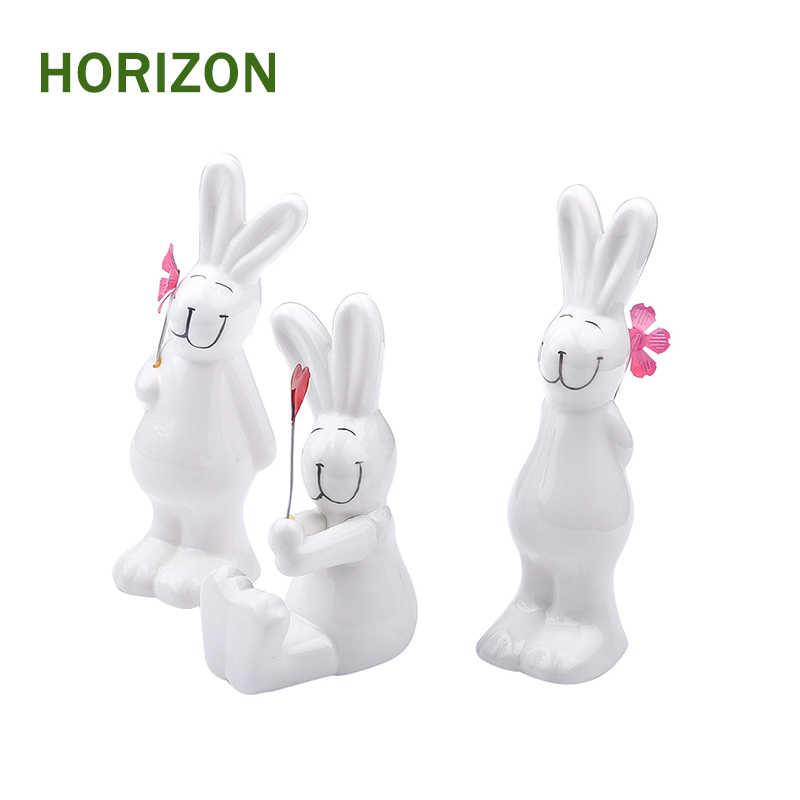 3 шт./компл. милый кролик керамические украшения домашний декор Семья Рождественский подарок для друзей Детская кукла микро пейзаж аниме фигурки