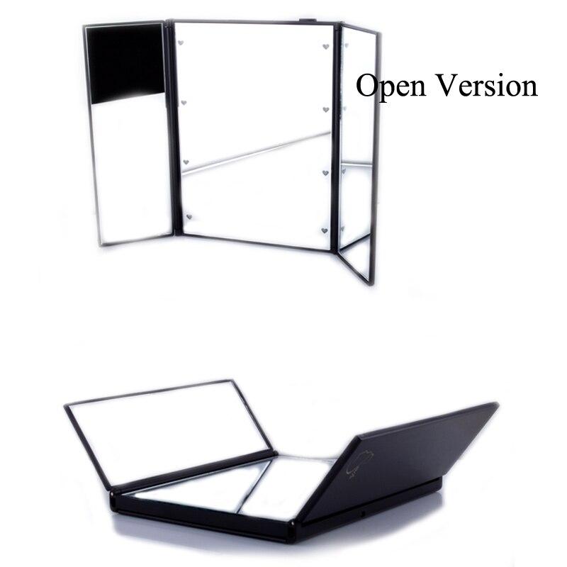 Новый Портативный светодиодные лампы Макияж зеркало косметическое зеркало регулируемый три складной стол световой Настольный столешницу