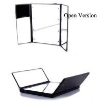 New Portable LED Lamp Makeup Mirror Cosmetic Mirror Adjustable Three Folding Table Luminous Tabletop Countertop Light Mirror