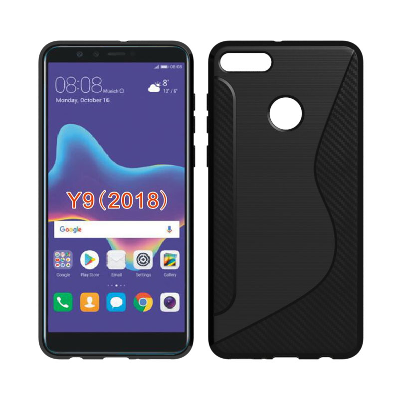 CASEISHERE For Huawei Y9 2018 Case Soft S Line Drawing Silicone TPU Gel Cover Skin For Huawei Enjoy 8 Plus Phone Cases