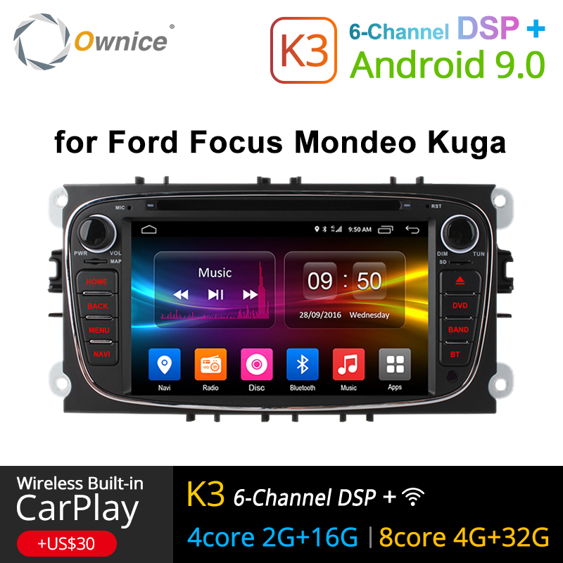 Ownice K1 K2 K3 8 4G LTE Android 9.0 Octa Núcleo GPS DVD Player Do Carro Para FORD Mondeo S-MAX connect FOCUS 32 2 2008 2009 2010 2011G