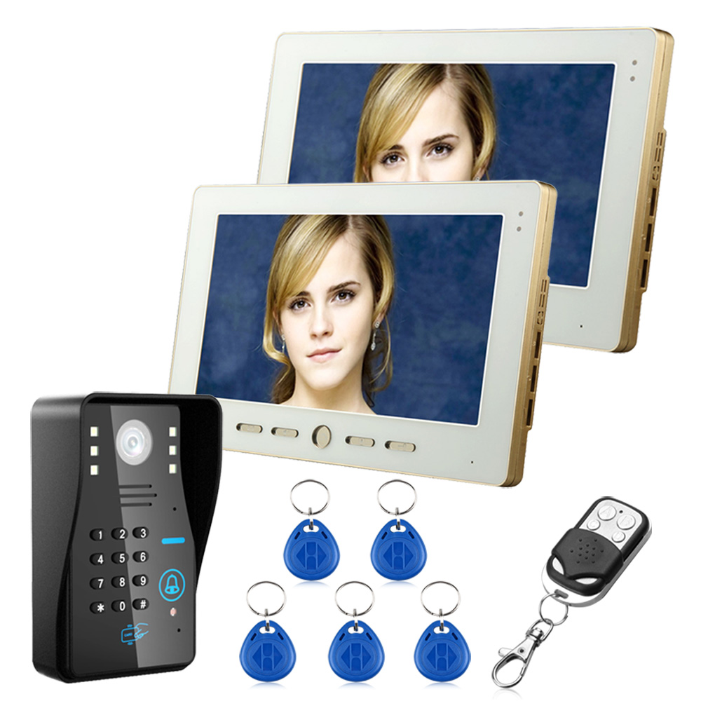 2 Monitors+1 Camera 10 TFT RFID Password Video Door Phone Doorbell Intercom System With IR Camera 1000TVL Remote Access Control touch key 7lcd wired touch key rfid password video door phone doorbell intercom system ir camera with remote control