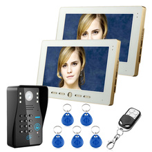 Cheap price 2 Monitors+1 Camera 10″ TFT RFID Password Video Door Phone Doorbell Intercom System With IR Camera 1000TVL Remote Access Control