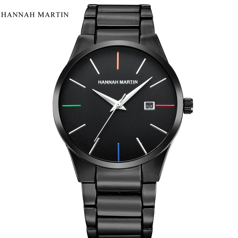Mode Noir Hannah Martin casual acier plein montre à quartz hommes - Montres hommes